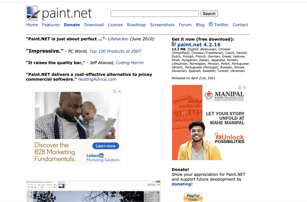 Paint.NET photo editor software for bloggers